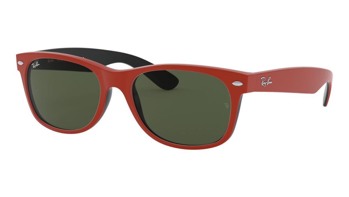 NEW WAYFARER RB2132 - Top rubber red on shiny black